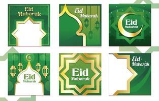 postagem islâmica de eid mubarak na mídia social vetor