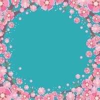 flor de cerejeira com fundo azul vetor
