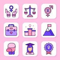 conjunto de ícones do dia da mulher vetor