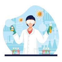 mulher em laboratório fazendo uma vacina vetor