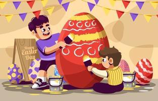 meninos divertidos pintando o ovo de páscoa vermelho vetor