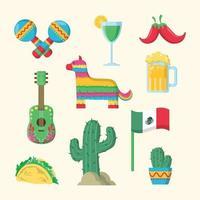 conjunto de ícones da festa cinco de maio vetor