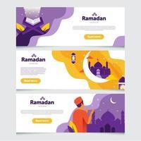 coleção de banner do ramadan kareem vetor
