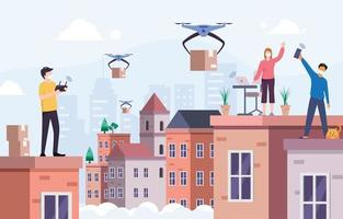 entrega sem contato usando drone vetor