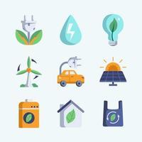 coleção de ícones de tecnologia verde vetor