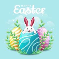 coelho escondido no fundo dos ovos de páscoa vetor