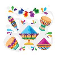 coleção de ícones do festival holi vetor