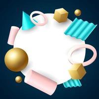 Fundo geométrico 3D em estilo realista vetor
