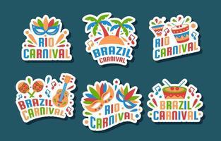 adesivos coloridos do carnaval do rio vetor