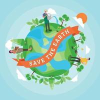 salve o conceito de terra vetor