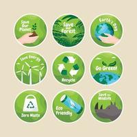pacote de adesivos da campanha salve nosso planeta vetor