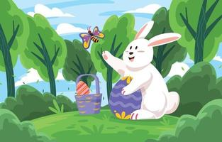 coelho da páscoa brincando com borboleta vetor