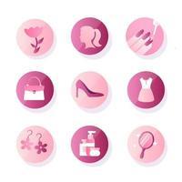 coleção de ícones do dia da mulher vetor