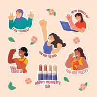 pacote de adesivos de diversidade do dia da mulher vetor