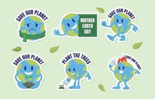 pacote de adesivos de conscientização do dia da terra vetor
