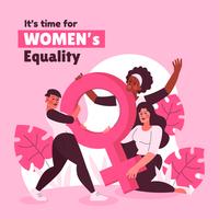 conceito de igualdade feminina na cor rosa vetor