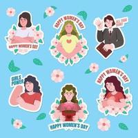 pacote de adesivos de ativismo do dia da mulher vetor