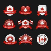adesivos do dia nacional dos patriotas do Canadá vetor