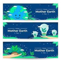 coleção de banner do dia da terra vetor