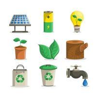coleção de ícones de ecologia vetor