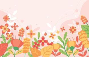 fundo de design plano floral primavera vetor