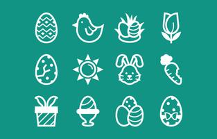 coleção de ícones de páscoa em estilo de linha vetor