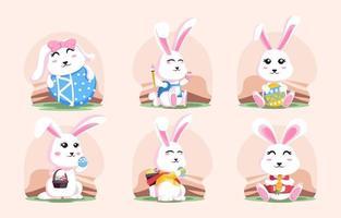 coleção fofa de coelho do dia de páscoa vetor