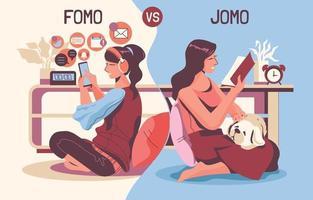 conceito fomo vs jomo vetor