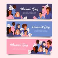 coleção de banners de diversidade para o dia da mulher vetor