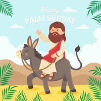 jesus montando burro em uma palmeira do deserto domingo vetor