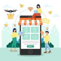 maneiras fáceis de fazer compras online vetor