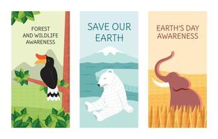 conjunto de banner de conscientização do dia da terra vetor