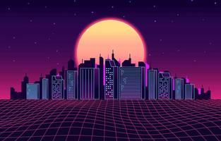 nascer do sol no fundo da cidade futurista vetor