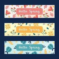 conjunto de banner floral primavera vetor