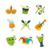 coleção de objetos ícone do festival do rio de janeiro vetor