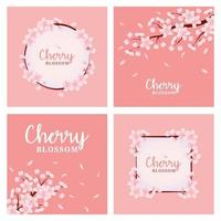 conjunto de cartão de flor de cerejeira vetor