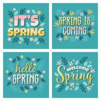 conjunto de cartão de primavera vetor