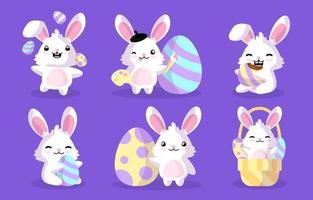 conjunto de personagens do coelhinho da páscoa vetor