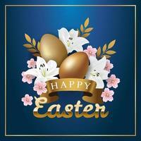 ovos de páscoa e buquê de flores vetor
