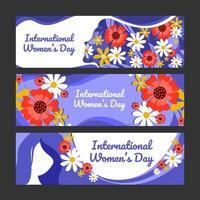 conjunto de banner de conscientização do dia da mulher vetor