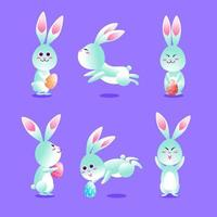 conjunto de caracteres de coelhos fofos da Páscoa vetor