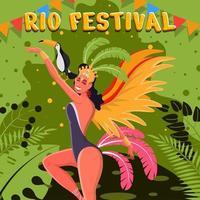 carnaval do rio festival brasil dançarina de samba vetor