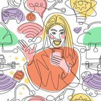 uma mulher de arte de linha e conceito de tecnologia vetor