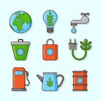 vá ícones verdes e orgânicos vetor