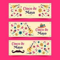 coleção colorida de estandartes cinco de mayo vetor