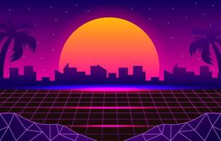 paisagem retro futurista de 1980 vetor