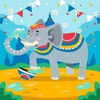 elefante no festival songkran vetor