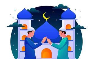 ilustração feliz eid mubarak vetor
