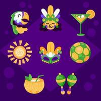 pacote de ícones fofos do carnaval do rio vetor