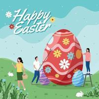 feliz páscoa com atividades de pintura de ovos vetor